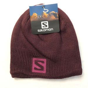 Salomon Logo Beanie Hat Knitted Purple Burgundy